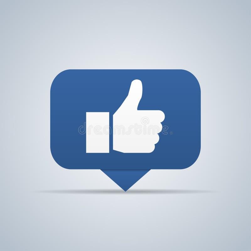 Bouton bleu La main aiment l'icône Illustration de vecteur illustration libre de droits