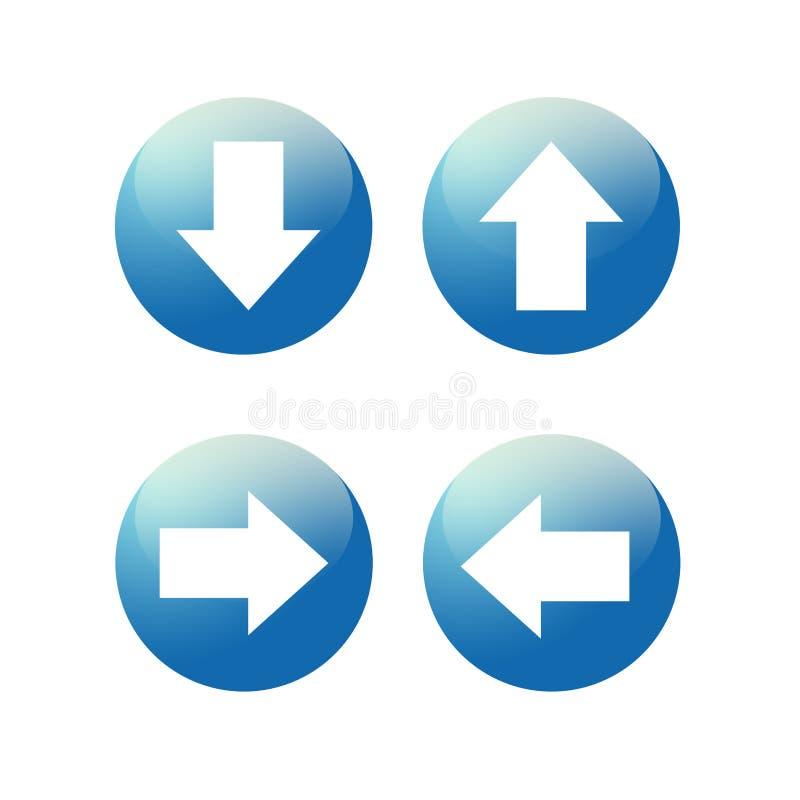 Bouton bleu vitreux d'icône de Web de flèche illustration libre de droits