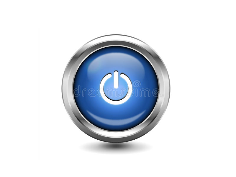 Bouton brillant bleu de puissance photo stock