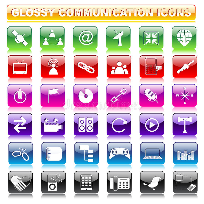 Bouton brillant de communication illustration libre de droits