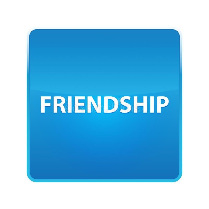 Bouton carré bleu brillant d'amitié illustration de vecteur