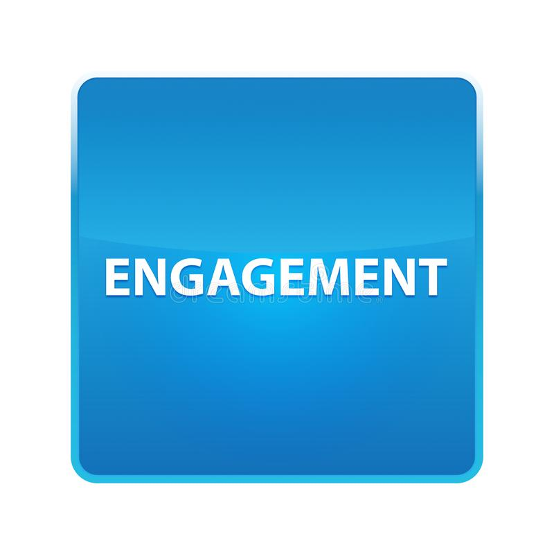 Bouton carré bleu brillant d'engagement illustration stock