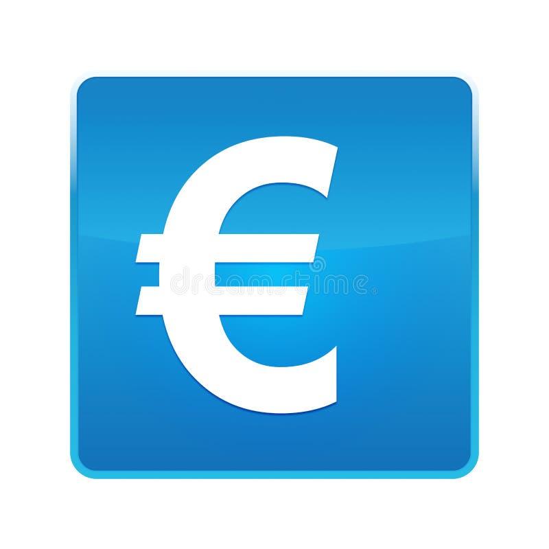 Bouton carré bleu brillant d'euro icône de signe illustration libre de droits