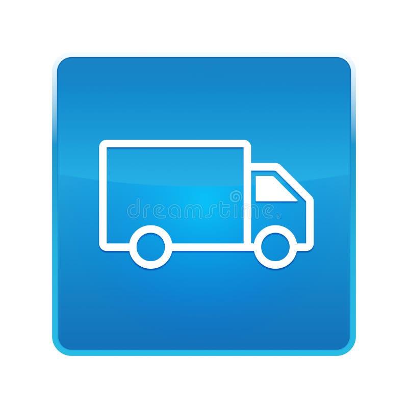 Bouton carré bleu brillant d'icône de camion de livraison illustration libre de droits