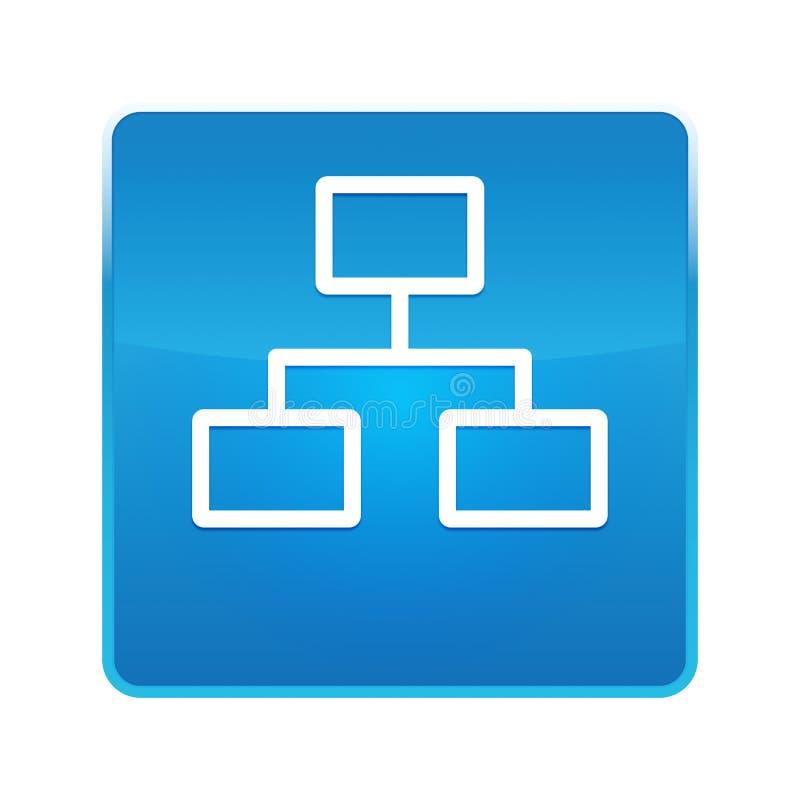 Bouton carré bleu brillant d'icône de connexions réseau illustration de vecteur