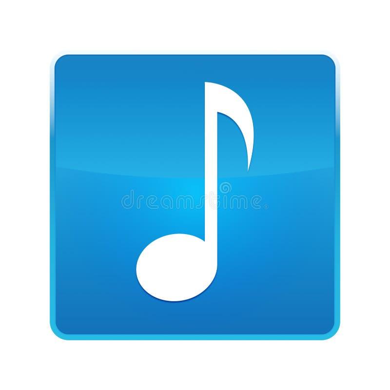 Bouton carré bleu brillant d'icône de note musicale illustration stock