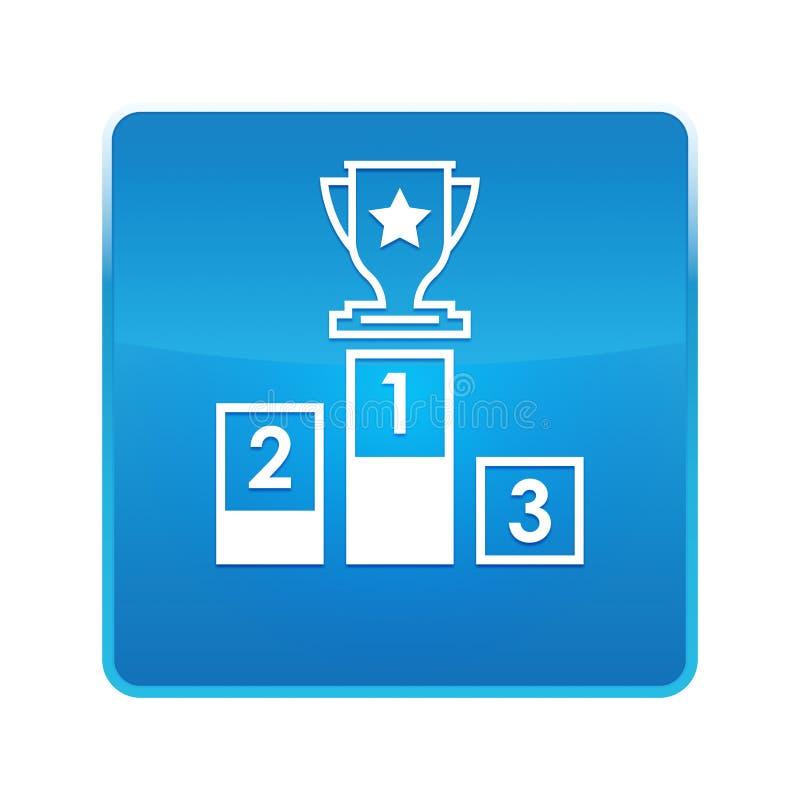 Bouton carré bleu brillant d'icône de podium illustration stock