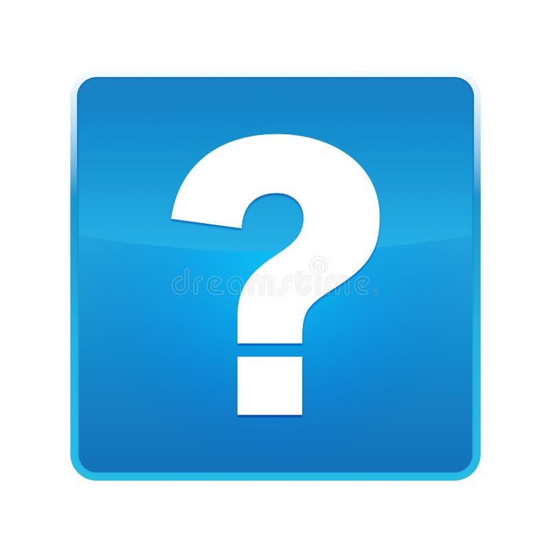 Bouton carré bleu brillant d'icône de point d'interrogation illustration stock
