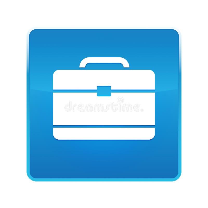 Bouton carré bleu brillant d'icône de serviette illustration libre de droits