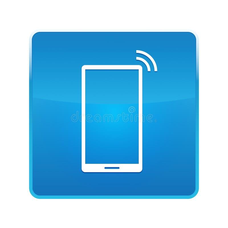 Bouton carré bleu brillant d'icône de signal de réseau de Smartphone illustration stock