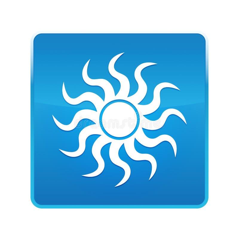 Bouton carré bleu brillant d'icône de Sun illustration libre de droits