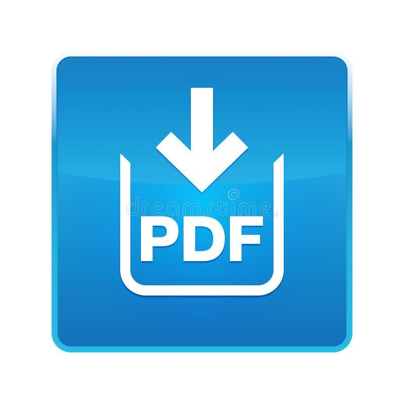Bouton carré bleu brillant d'icône de téléchargement de document de pdf illustration libre de droits