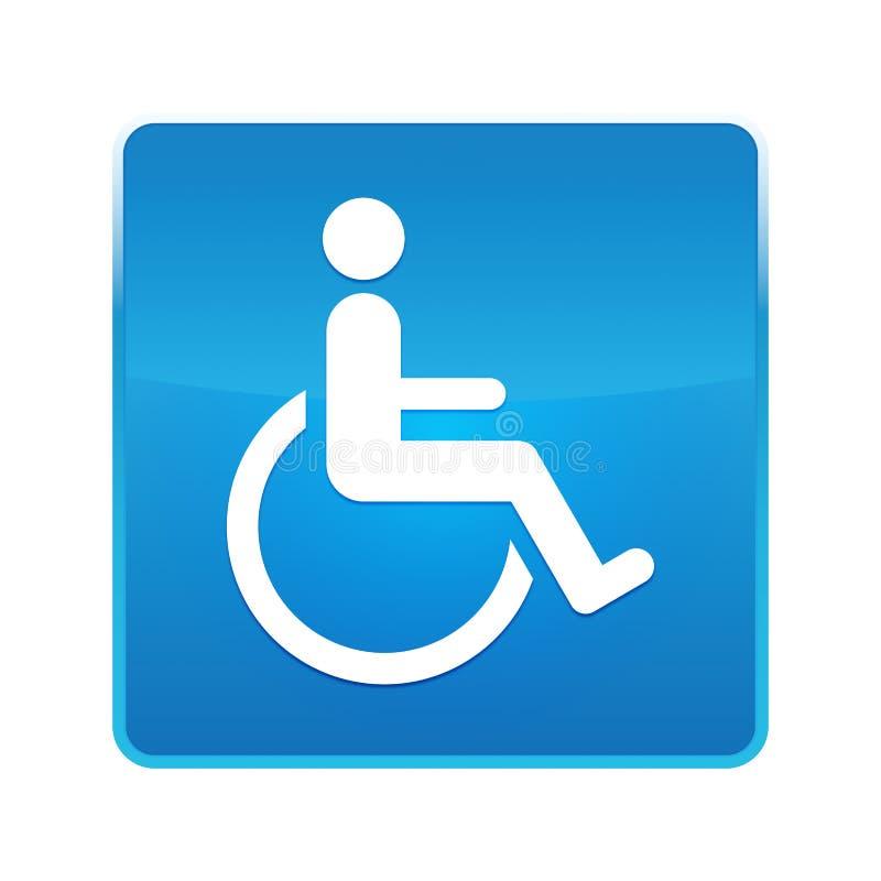 Bouton carré bleu brillant d'icône d'handicap de fauteuil roulant illustration libre de droits