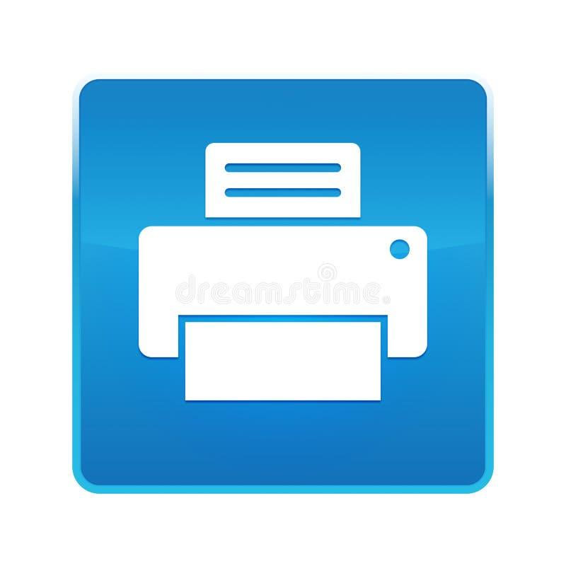 Bouton carré bleu brillant d'icône d'imprimante illustration de vecteur