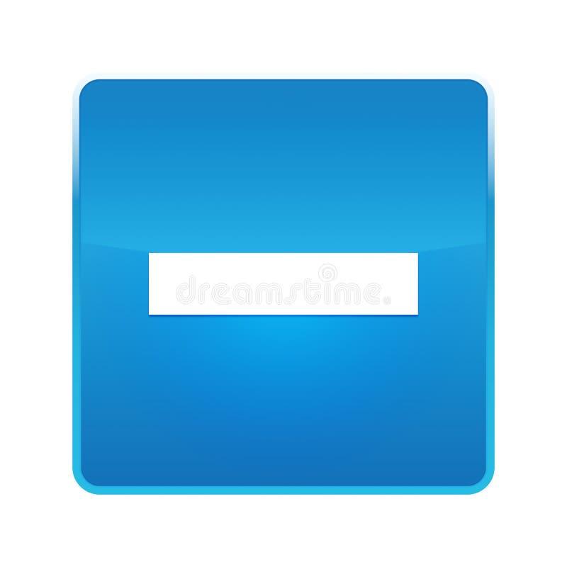 Bouton carré bleu brillant d'icône négative illustration stock