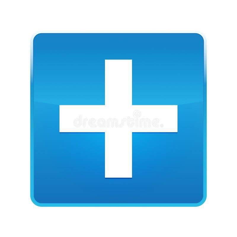 Bouton carré bleu brillant d'icône plus illustration libre de droits