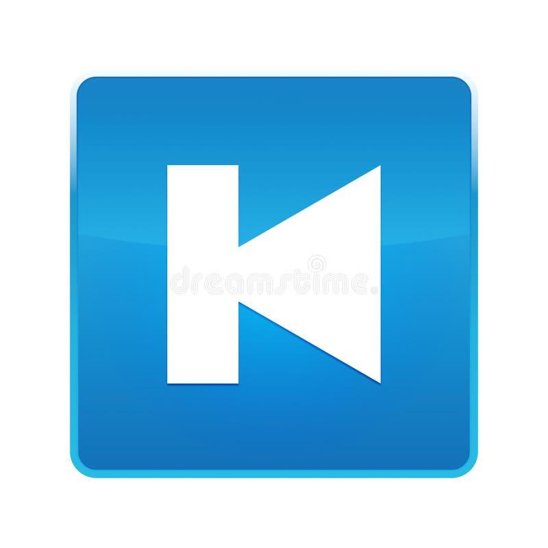 Bouton carré bleu brillant d'icône précédente de voie illustration de vecteur