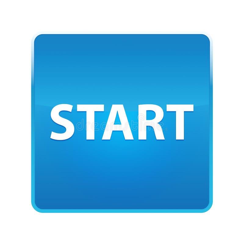 Bouton carré bleu brillant de début illustration libre de droits