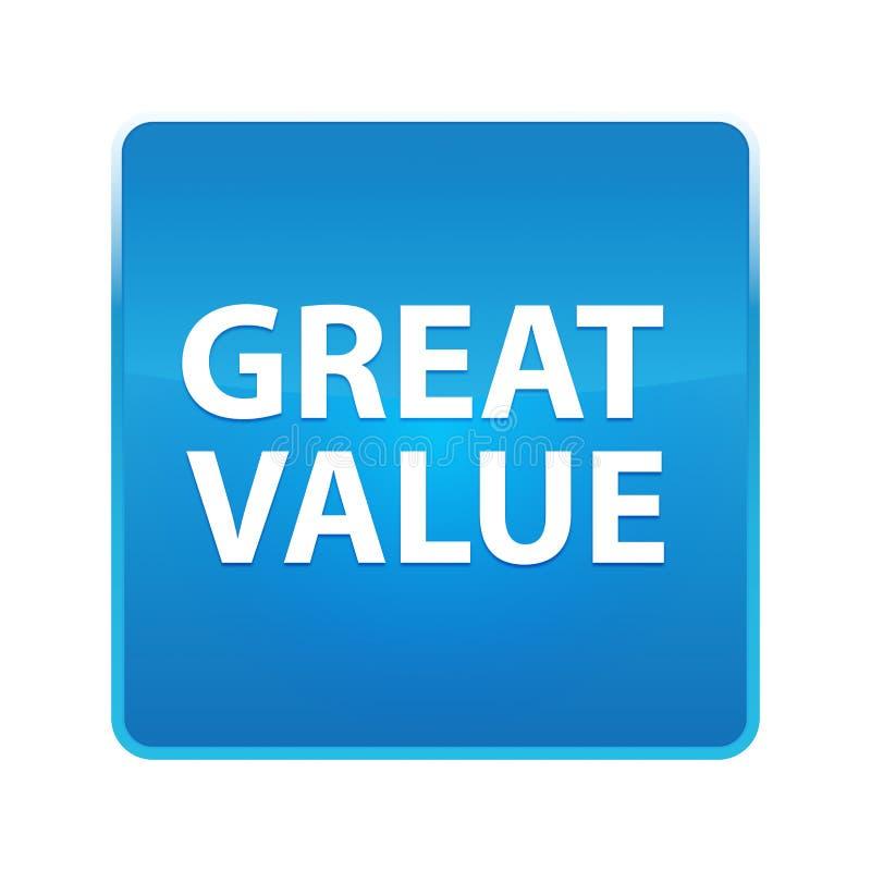 Bouton carré bleu brillant de grande valeur illustration stock