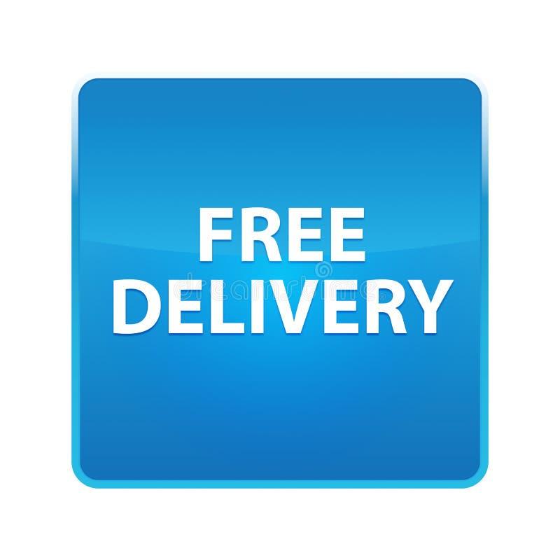 Bouton carré bleu brillant de la livraison libre illustration de vecteur