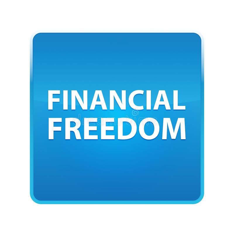 Bouton carré bleu brillant de liberté financière illustration libre de droits