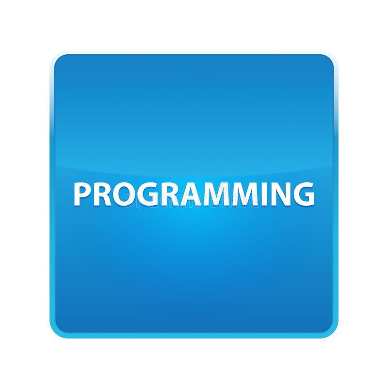 Bouton carré bleu brillant de programmation illustration stock