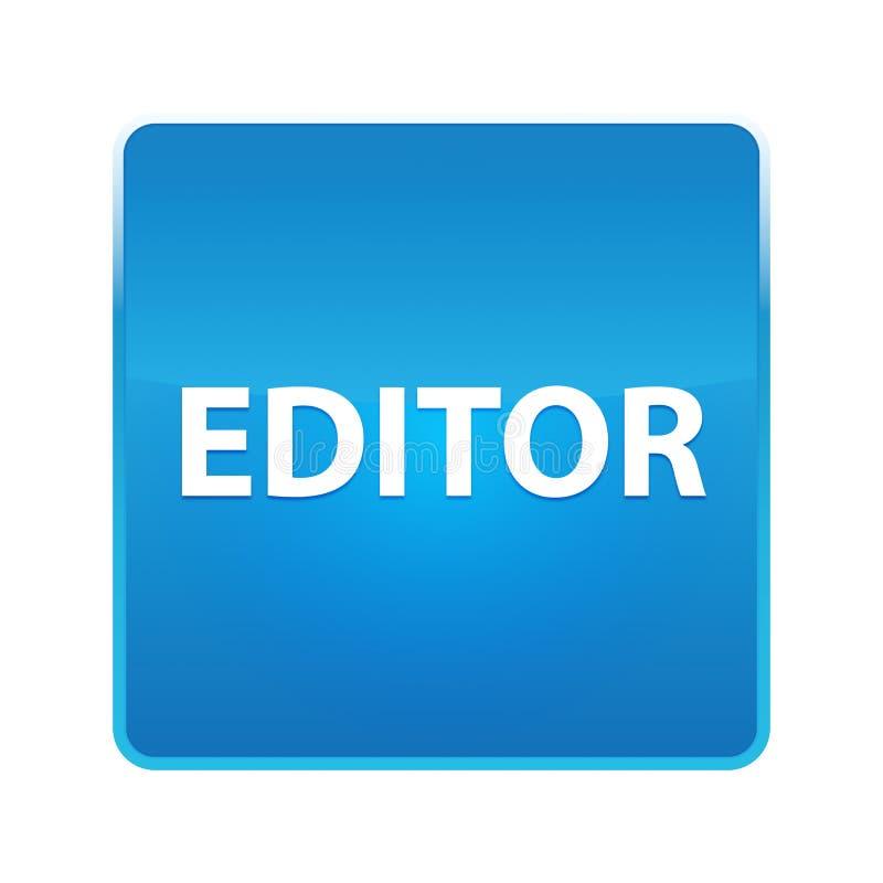 Bouton carré bleu brillant de rédacteur illustration stock
