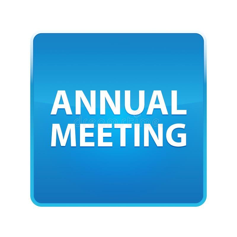 Bouton carré bleu brillant de réunion annuelle illustration de vecteur