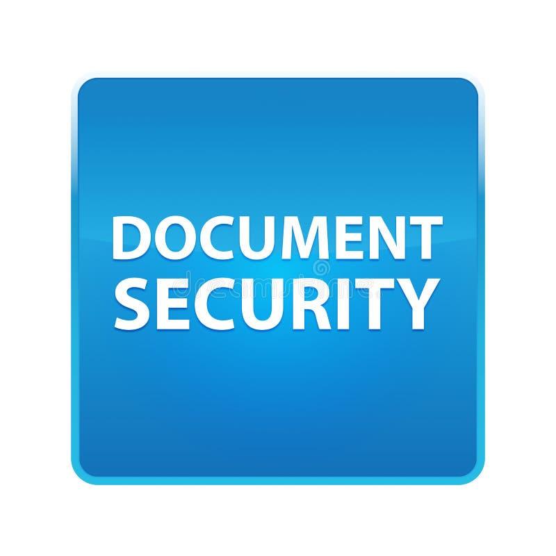 Bouton carré bleu brillant de sécurité de document illustration stock