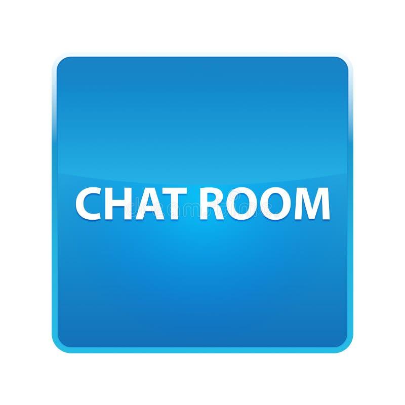 Bouton carré bleu brillant de salle de messagerie instantanée illustration libre de droits
