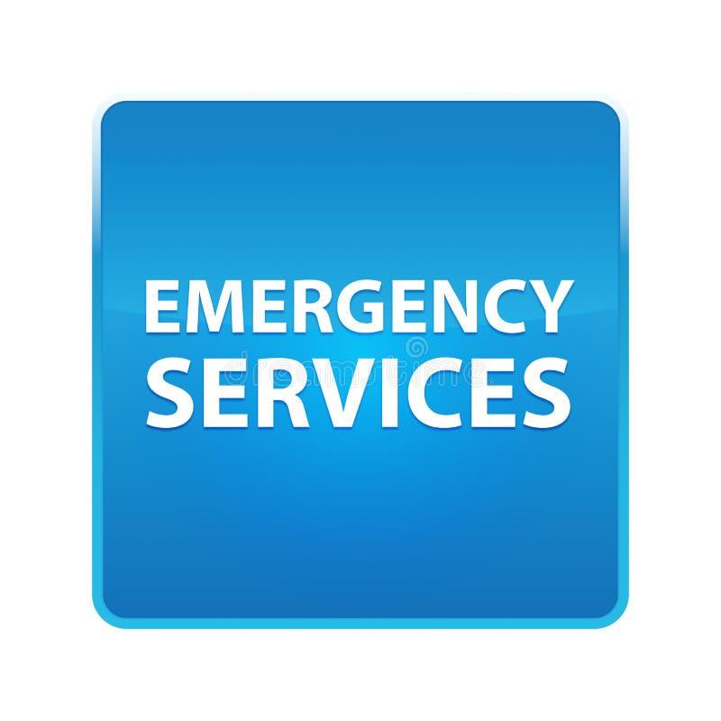 Bouton carré bleu brillant de services des urgences illustration libre de droits