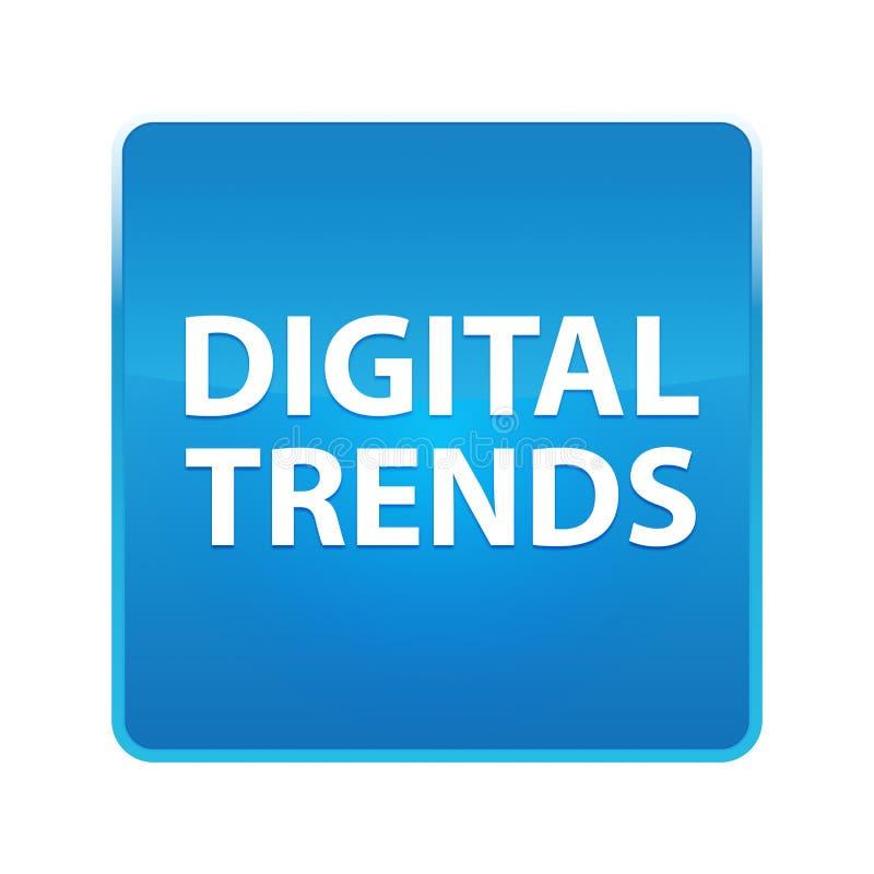 Bouton carré bleu brillant de tendances de Digital illustration de vecteur