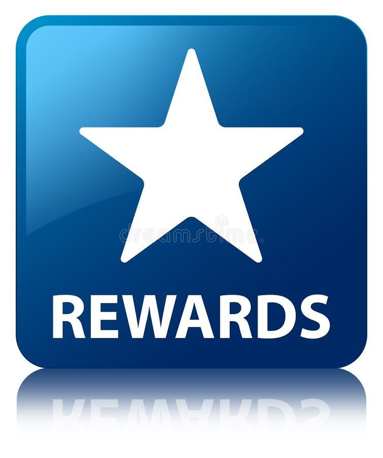 Bouton carré bleu de récompenses (icône d'étoile) illustration stock