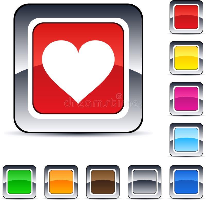 Bouton carré de coeur. illustration stock