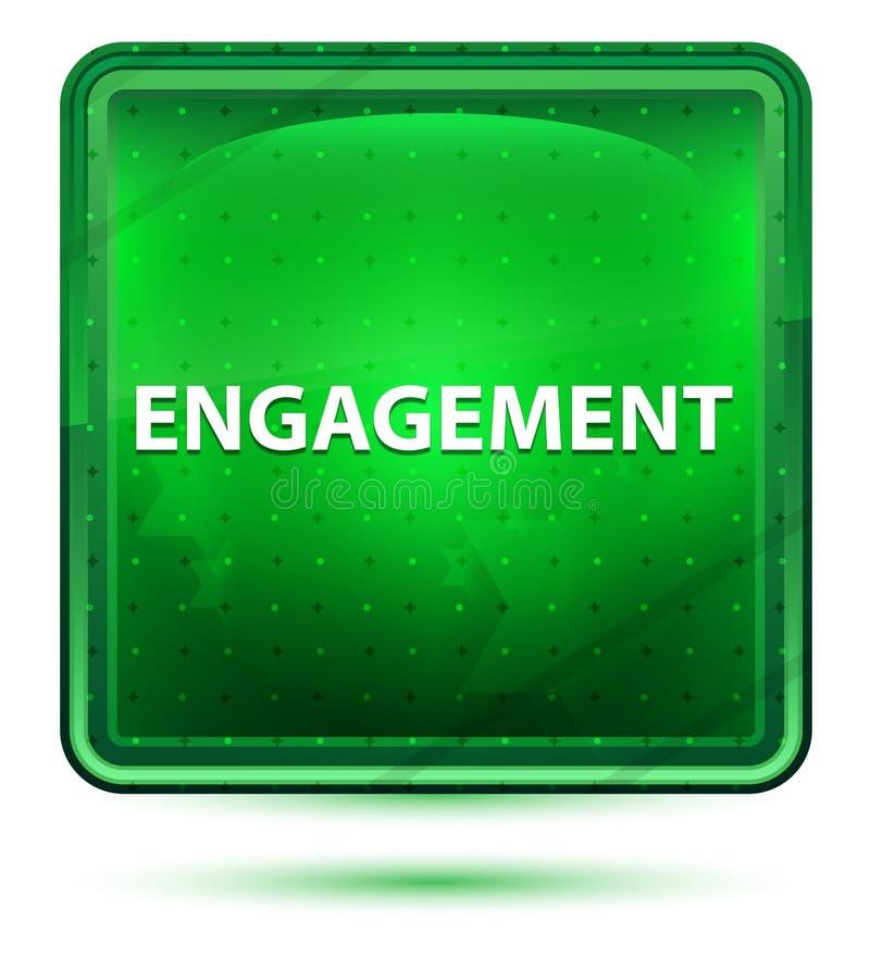 Bouton carré vert clair au néon d'engagement illustration stock