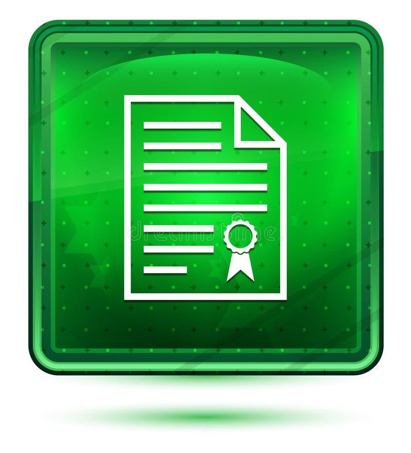 Bouton carré vert clair au néon d'icône de papier de certificat illustration stock