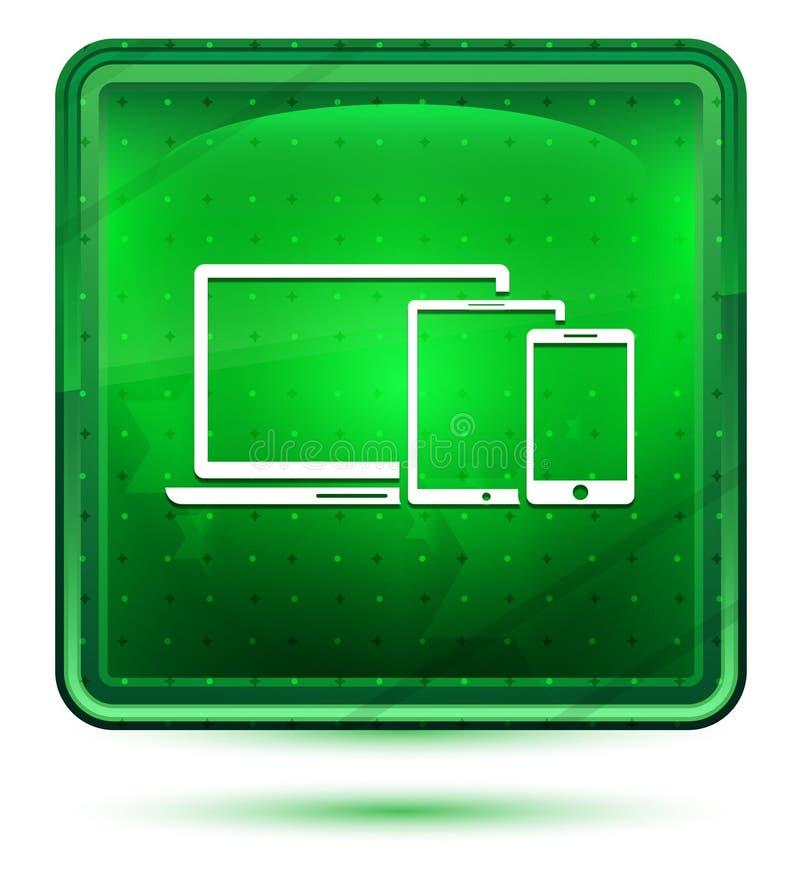 Bouton carré vert clair au néon d'icône futée de dispositifs de Digital illustration stock