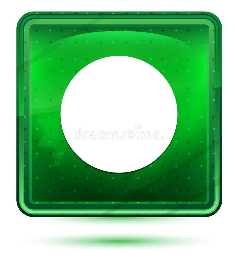 Bouton carré vert clair au néon d'icône record photographie stock