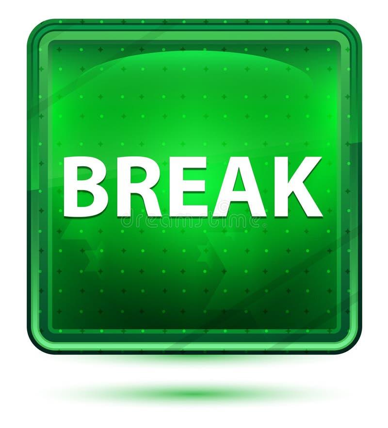 Bouton carré vert clair au néon de coupure illustration de vecteur