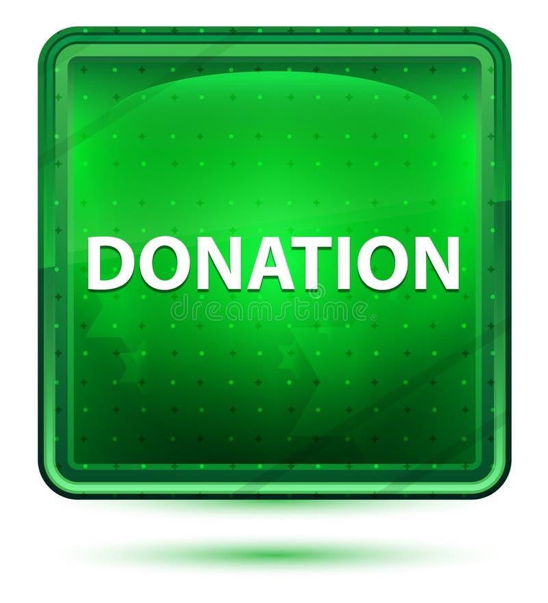 Bouton carré vert clair au néon de donation illustration libre de droits