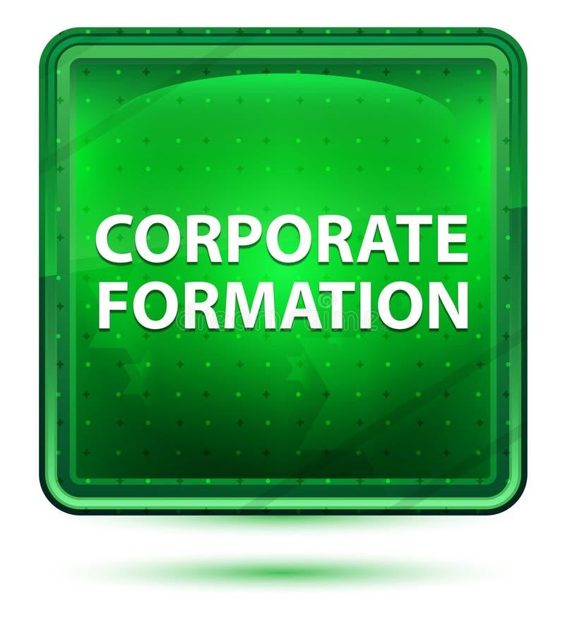 Bouton carré vert clair au néon de formation d'entreprise illustration stock