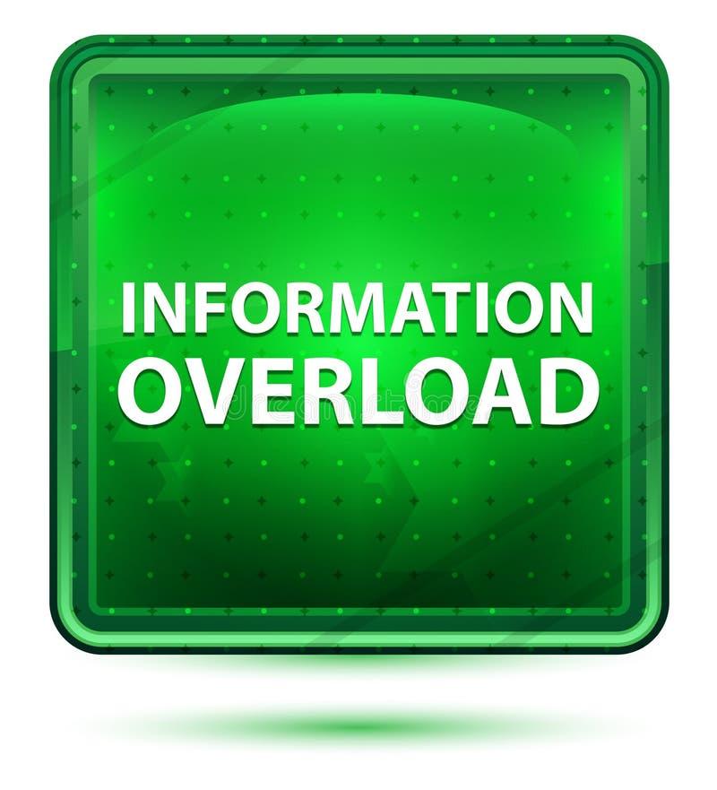 Bouton carré vert clair au néon de surcharge d'information illustration libre de droits