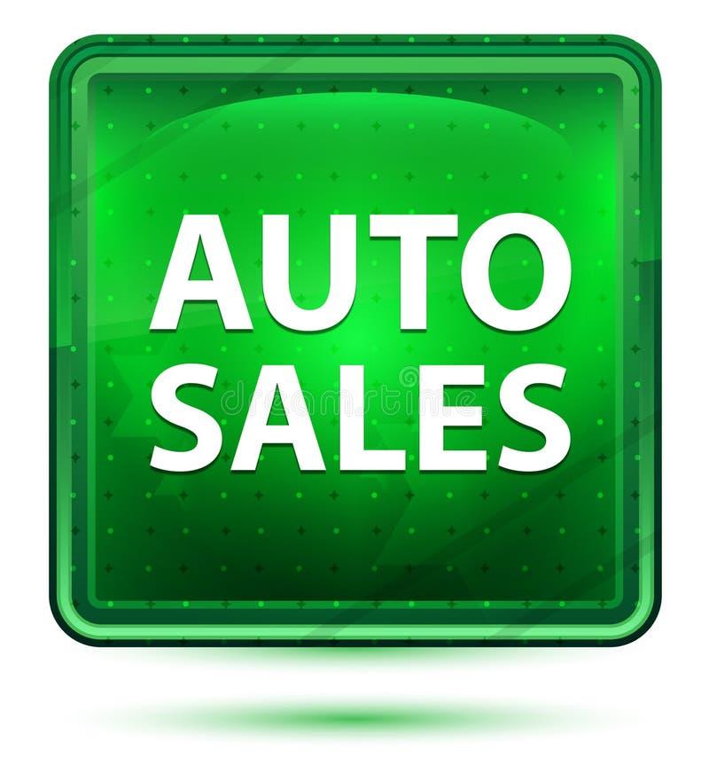 Bouton carré vert clair au néon de ventes automatiques illustration de vecteur