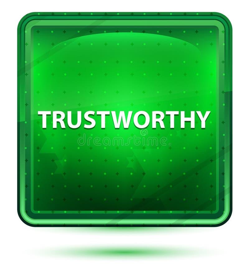Bouton carré vert clair au néon digne de confiance illustration stock