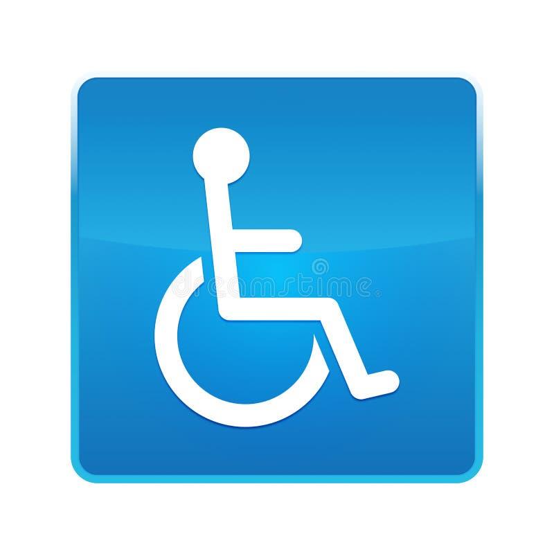 Bouton carr? bleu brillant d'ic?ne d'handicap de fauteuil roulant illustration de vecteur