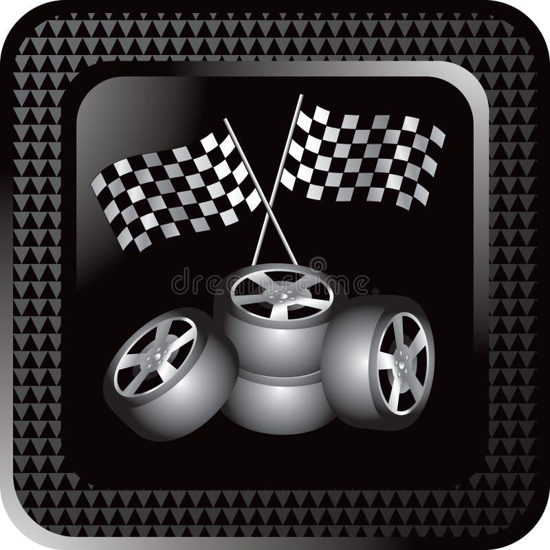 Bouton checkered noir de Web emballant des pneus et des indicateurs illustration libre de droits