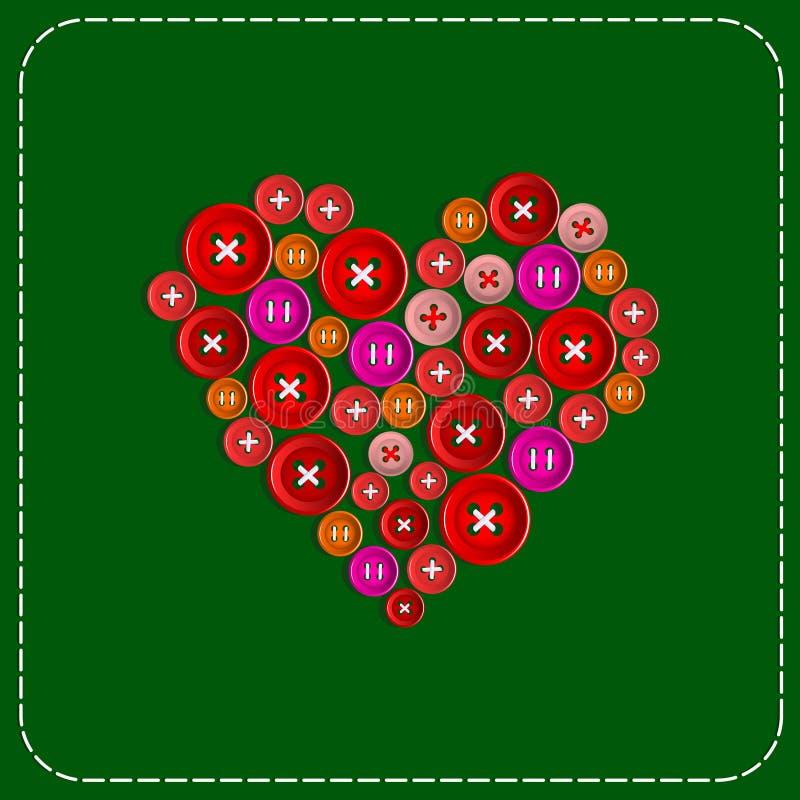 Bouton-coeur Photo de fond Rouge au vert Boutons en plastique cousus avec le fil blanc Vecteur illustration stock