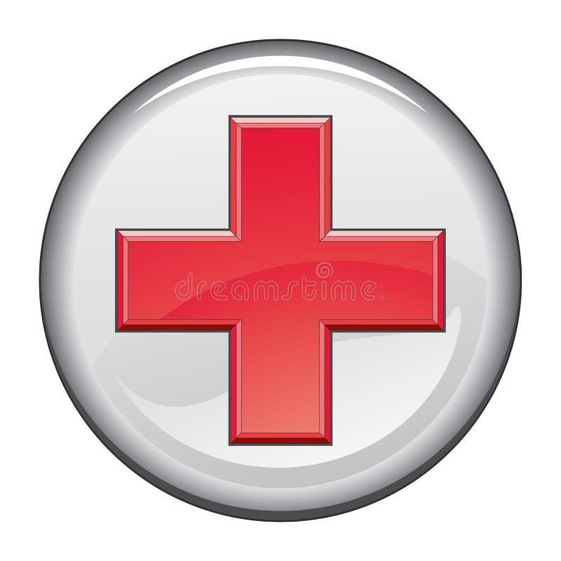 Bouton croisé médical de premiers secours illustration stock