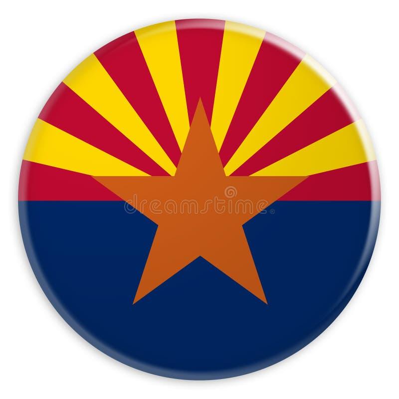 Bouton d'état d'USA : Illustration de l'insigne 3d de drapeau de l'Arizona sur le fond blanc illustration stock