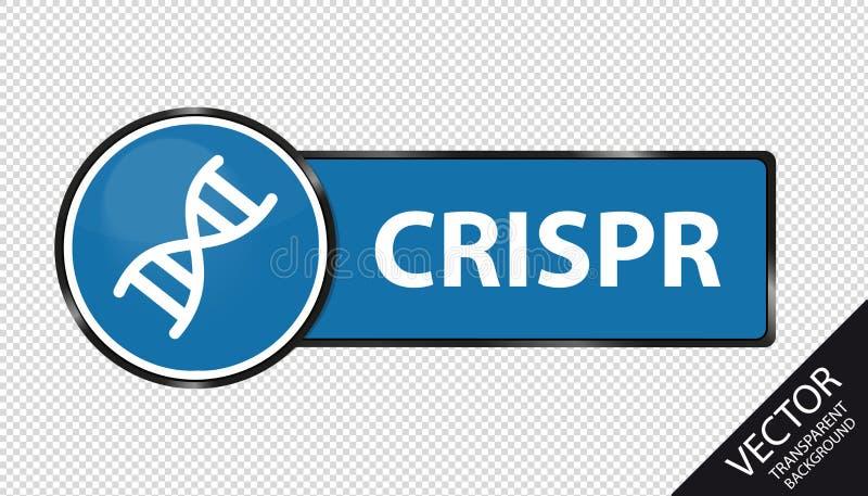 Bouton d'ADN de CRISPR - illustration bleue de vecteur - d'isolement sur le fond transparent illustration libre de droits